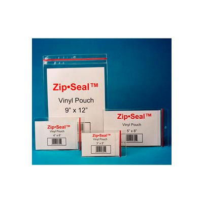 "Zip Seal Vinyl Pouches, 5"" x 8"", Self-Adhesive (25 pcs/pkg)"