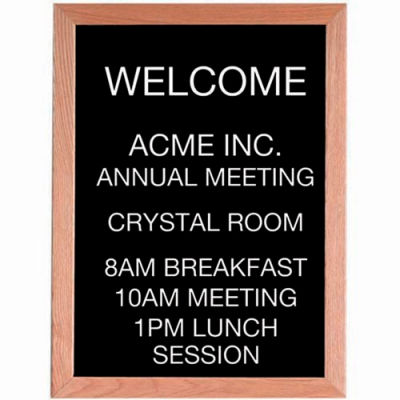 "Aarco Red Oak Framed Letter Board Message Center - 18""W x 24""H"