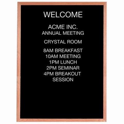 """Aarco Red Oak Framed Letter Board Message Center - 36""""W x 48""""H"""
