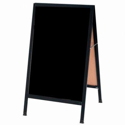 "Aarco Aluminum Black Powder Coated A-Frame Sidewalk Black Marker Board - 24""W x 42""H"