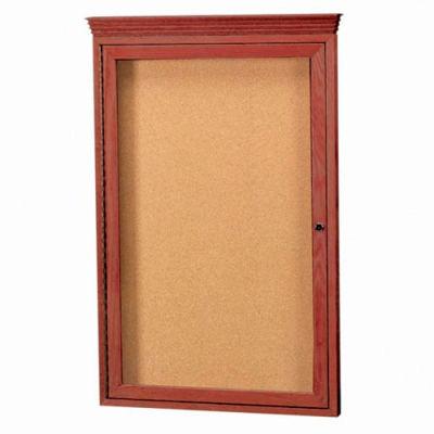 """Aarco 1 Door Red Cherry Bulletin Board w/ Crown Molding - 24""""W x 36""""H"""