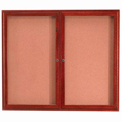 """Aarco 2 Door Cherry Enclosed Bulletin Board - 60""""W x 48""""H"""