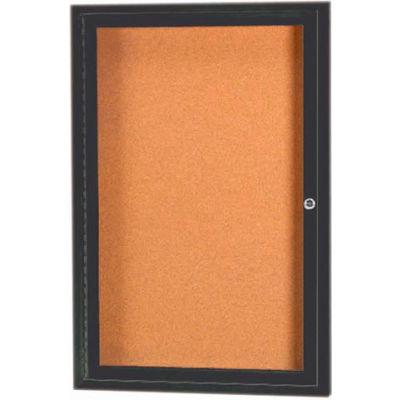 "Aarco 1 Door Framed Enclosed Bulletin Board Bronzed Anod. - 18""W x 24""H"
