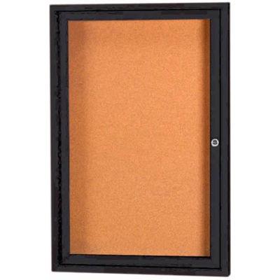 "Aarco 1 Door Framed Enclosed Bulletin Board Black Powder Coat - 18""W x 24""H"