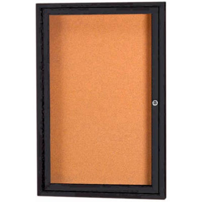 "Aarco 1 Door Framed Illuminated Enclosed Bulletin Board Black Pwdr. Coat - 18""W x 24""H"