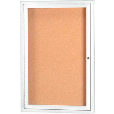 """Aarco 1 Door Framed Illuminated Enclosed Bulletin Board White Pwdr. Coat - 18""""W x 24""""H"""