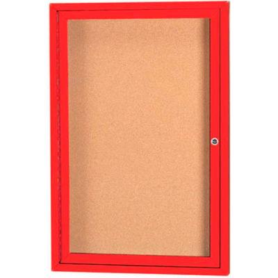 "Aarco 1 Door Framed Enclosed Bulletin Board Blue Powder Coat - 24""W x 36""H"