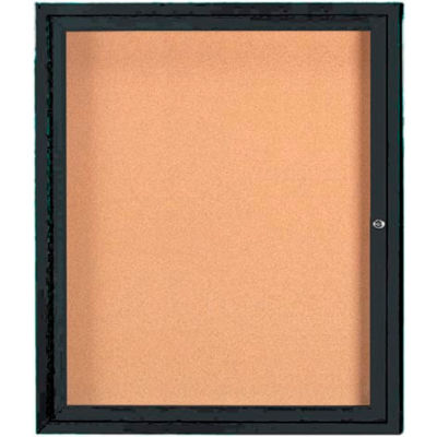 "Aarco 1 Door Framed Enclosed Bulletin Board Black Powder Coat - 30""W x 36""H"