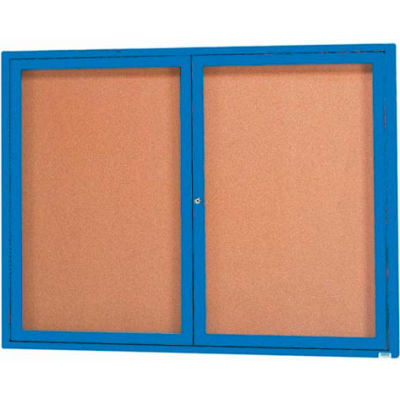 "Aarco 2 Door Framed Enclosed Bulletin Board Blue Powder Coat - 48""W x 36""H"