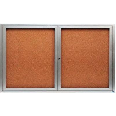 "Aarco 2 Door Framed Enclosed Bulletin Board - 60""W x 36""H"