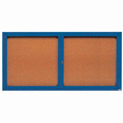 "Aarco 2 Door Framed Enclosed Bulletin Board Blue Powder Coat - 72""W x 36""H"