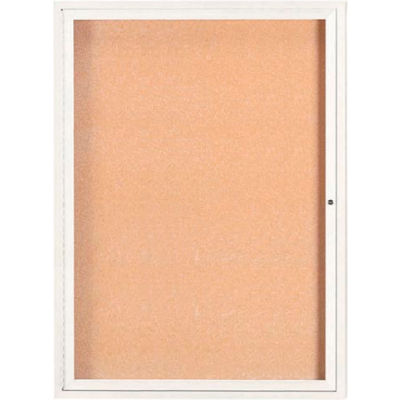 "Aarco 1 Door Framed Enclosed Bulletin Board White Powder Coat - 36""W x 48""H"