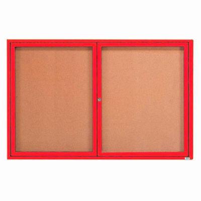"Aarco 2 Door Framed Enclosed Bulletin Board Red Powder Coat - 72""W x 48""H"