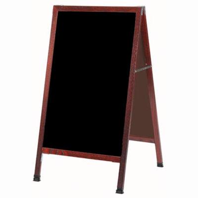 "Aarco Solid Cherry Finish A-Frame Sidewalk Black Marker Board - 24""W x 42""H"