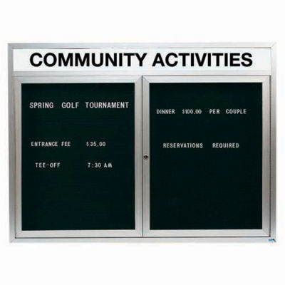 """Aarco 2 Door Enclosed Letter Board Cabinet w/ Header, Illuminated - 48""""W x 36""""H"""