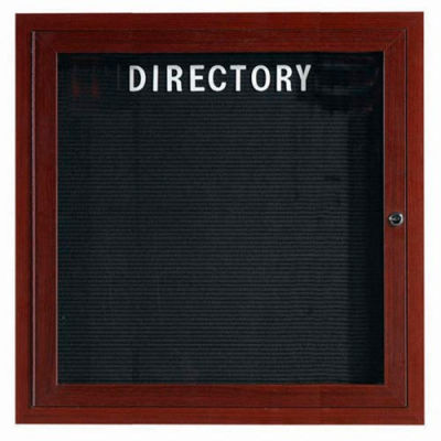 "Aarco 1 Door Aluminum Frame Wood Look, Walnut Enclosed Letter Board - 36""W x 36""H"