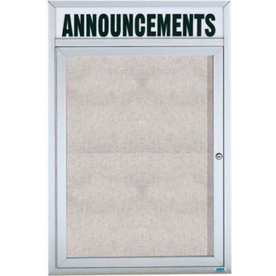 "Aarco 1 Door Enclosed Aluminum Framed Bulletin Board w/ Header - 18""W x 24""H"