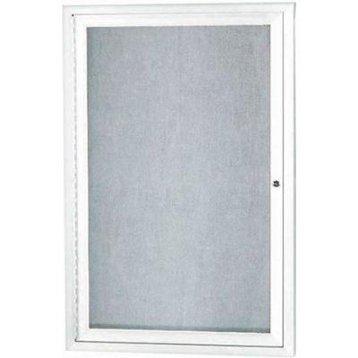 "Aarco 1 Door Aluminum Framed Enclosed Bulletin Board White Powder Coat - 18""W x 24""H"
