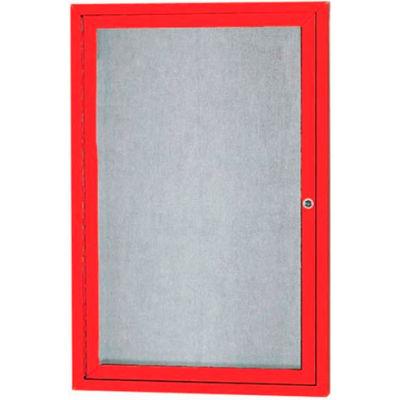 "Aarco 1 Door Aluminum Framed Enclosed Bulletin Board Red Powder Coat - 24""W x 36""H"