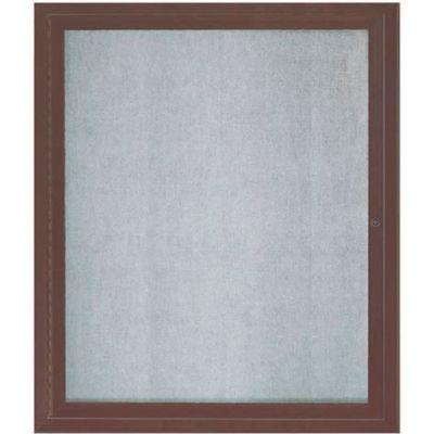 "Aarco 1 Door Aluminum Framed Enclosed Bulletin Board Bronze Anod. - 30""W x 36""H"