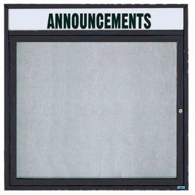 "Aarco 1 Door Enclosed Alum Framed Bulletin Board w/ Header, Illum Black - 36""W x 36""H"