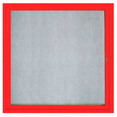 "Aarco 1 Door Aluminum Framed Enclosed Bulletin Board Red Powder Coat - 36""W x 36""H"