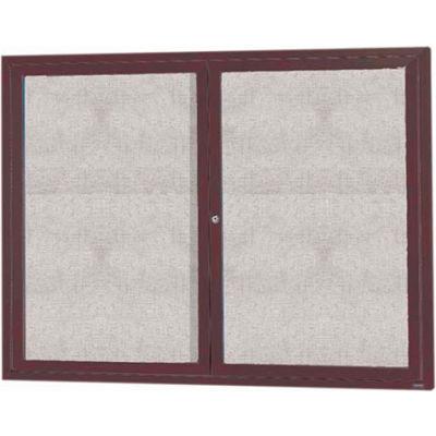 "Aarco 2 Door Aluminum Framed Enclosed Bulletin Board Bronze Anod. - 48""W x 36""H"