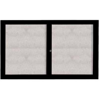 "Aarco 2 Door Aluminum Framed Enclosed Bulletin Board Black Powder Coat - 60""W x 36""H"