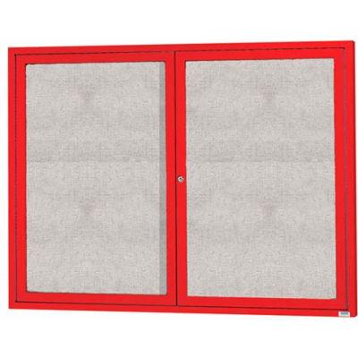 "Aarco 2 Door Aluminum Framed Enclosed Bulletin Board Red Powder Coat - 60""W x 48""H"