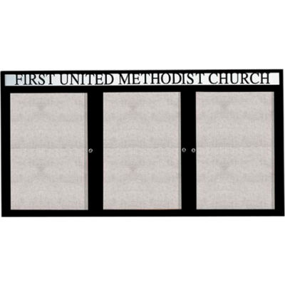 "Aarco 3 Door Enclosed Alum Framed Bulletin Board w/ Header, Illum Black - 96""W x 48""H"