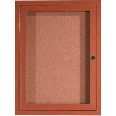 "Aarco 1 Door Aluminum Frame Wood Look, Oak Enclosed Bulletin Board - 24""W x 36""H"