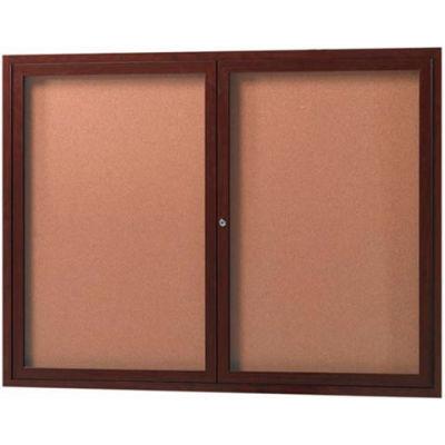 "Aarco 2 Door Aluminum Frame Wood Look, Walnut Enclosed Bulletin Board - 48""W x 36""H"