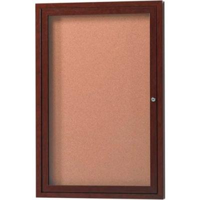 "Aarco 1 Door Aluminum Frame Wood Look, Walnut Enclosed Bulletin Board - 36""W x 48""H"