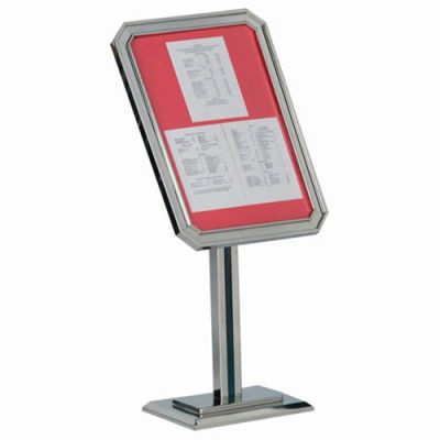 """Aarco Single Pedestal Ornamental Sign And Poster Stand Chrome - 23""""W x 49""""H"""