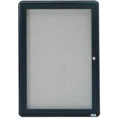 "Aarco 1 Door Design Enclosed Bulletin Board Graphite - 24""W x 36""H"
