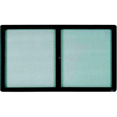 "Aarco 2 Door Design Enclosed Bulletin Board Graphite - 72""W x 36""H"