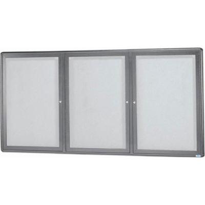 """Aarco 3 Door Design Enclosed Bulletin Board Medium Grey - 72""""W x 36""""H"""