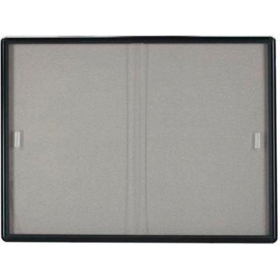 "Aarco 2 Door Radius Design Bulletin Board w/ Tempered Glass Medium Grey - 48""W x 36""H"
