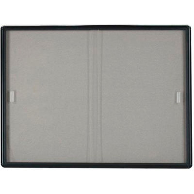 "Aarco 2 Door Radius Design Bulletin Board w/ Tempered Glass Graphite - 72""W x 36""H"