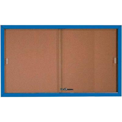 """Aarco 2 Door Aluminum Framed Bulletin Boards w/ Sliding Door Blue Pc - 60""""W x 36""""H"""