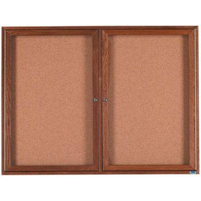 "Aarco 2 Door Walnut Enclosed Bulletin Board - 48""W x 36""H"