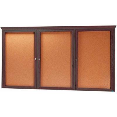 """Aarco 3 Door Red Walnut Bulletin Board w/ Crown Molding - 96""""W x 48""""H"""