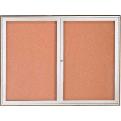 """Aarco 2 Door Water Fall Style Bulletin Board Silver - 36""""H x 48""""W"""