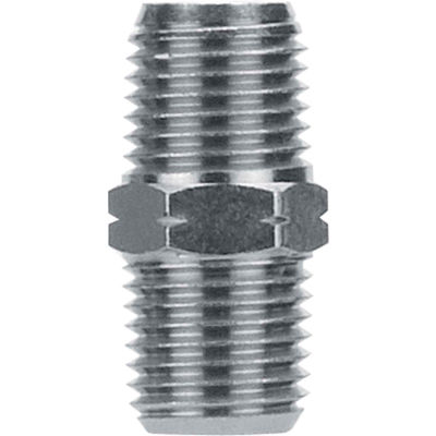 "AIGNEP Hex Pipe Nipple, 82200N-06, 3/8"" NPTF, Nickel Plated Brass - Pkg Qty 5"