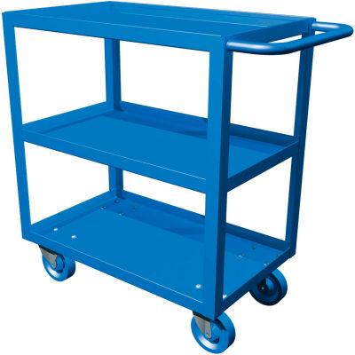 "Canway All-Welded Shelf Cart - 36""L x 24""W x 35""H - 3 Shelf - 1000 Lb Capacity - Blue"