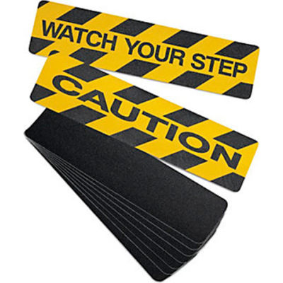 "No Skidding Self-Adhesive Anti-Slip Floor Tapes  6""Wx24""L - Anti-Slip High Traction Cleats - Caution"