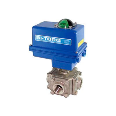 "BI-TORQ 3/4"" fileté NPT de SS T-Port 3-Way Ball Valve 115VAC W/NEMA 4"