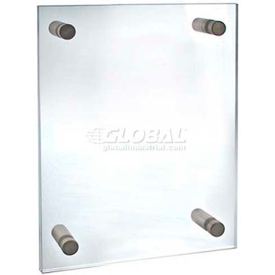 "Azar Displays 105514 Acrylic Standoff Sign Holder W/ Caps, 8.5"" x 11"" ,1 Piece"