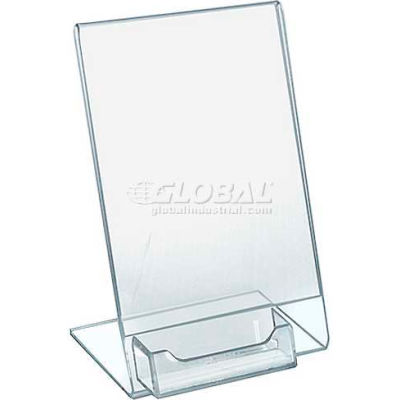 "Azar Displays 112705 Vertical Slanted L-Shaped Acrylic Sign Holder, 5.5"" x 8.5"""