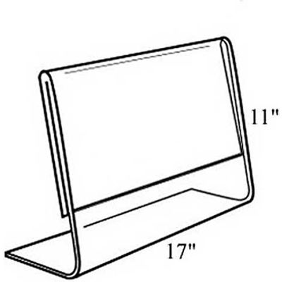 "Azar Displays 112709 Horizontal Slanted L-Shaped Acrylic Sign Holder, 17"" x 11"""